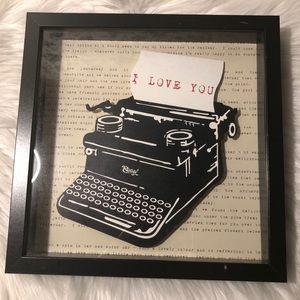 IKEA Typewriter I LOVE YOU Shadow Box